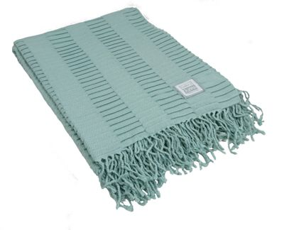 Gallery Direct Duck Egg Linear Pleat Throw 1300 x 1800