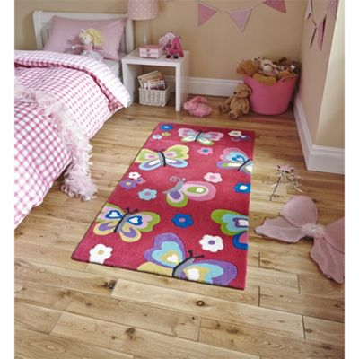 Kids Butterfly Pink Rug - 70x140cm