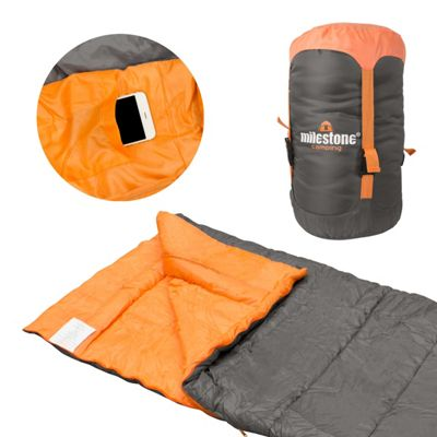 Milestone Envelope Sleeping Bag Double Layer Orange/Black - Size Single