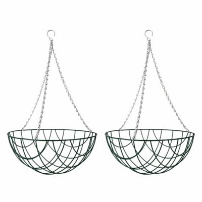 2 x 14-inch Green Metal Hanging Basket