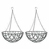 2 x 14-inch Green Metal Hanging Basket