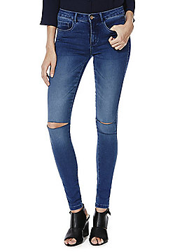 Only High-Performance Ripped Knee Stretch Skinny Jeans - Mid wash