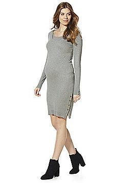 Mamalicious Ribbed Popper Side Maternity Jumper Dress - Grey