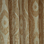 """Homescapes Cream and Gold Jacquard Curtain Abstract Ikat Design Fully Lined - 66"""" X 90"""" Drop"""