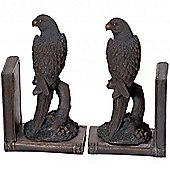 Parrots - Aged Bronze Effect Pair Of Large Bird Bookends - Black / Brown