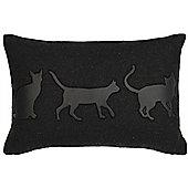 Cats Silhouette Cushion - Black