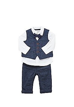 F&F Herringbone Waistcoat, Trousers, Shirt and Bow Tie Set - Navy