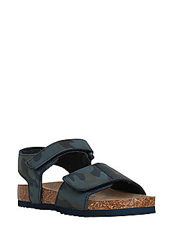 F&F Camo Print Moulded Footbed Sandals - Navy/Multi