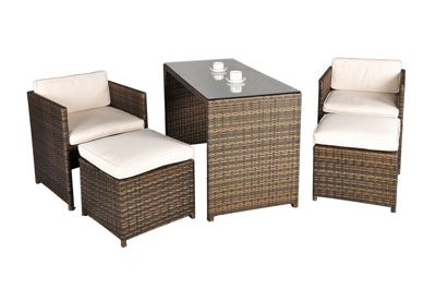 balcony rattan garden furniture 4 seat rectangular glass top table dining set with free dust cover - Rattan Garden Furniture 4 Seater