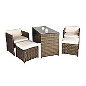 Balcony Rattan Garden Furniture 4 Seat Rectangular Glass Top Table Dining Set with Free Dust Cover, Cushions & 1 Yr Warranty