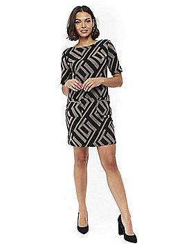 Wallis Petite Geometric Shift Dress - Black & Beige