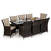 Maze Rattan - LA 8 Seat Set - 2m x 1m Rectangular - Brown
