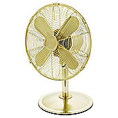 "Tesco DF1217G 12"" Metal Desk Fan Gold"
