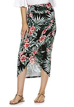 F&F Tropical Print Wrap Midi Skirt - Multi