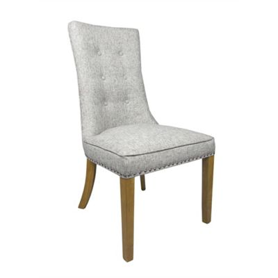 Pair of Newbury Weave Fabric Dining Chairs - Grey