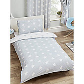 Grey And White Stars 4 In 1 Junior Bedding Bundle Set (Duvet, Pillow And Covers)
