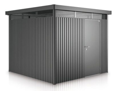 8 x 6 Premier Heavy Duty Metal Higher Ridge Height Dark Grey Metallic Shed with Double Door (2.75m x 1.95m) 8ft x 6ft