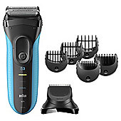 Braun 3010BT Series 3 Shave & Style Mens Wet & Dry Foil Electric Razor with Precision Trimmer - Black / Blue