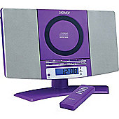 DENVER MC-5220 Purple CD Player Stereo Wall Mountable Music System with FM Radio, Clock Alarm & Remote
