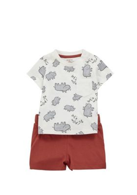 F&F Rhino T-Shirt and Shorts Set Multi 3-6 months