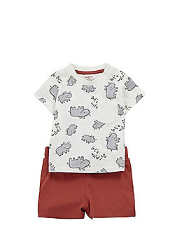F&F Rhino T-Shirt and Shorts Set - Multi