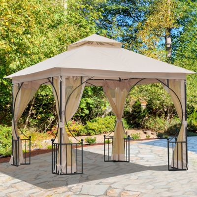 Outsunny 3 X 3m Gazebo Outdoor Patio Party Tent Shelter Garden Canopy 2  Tier Roof