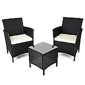 Christow Black Rattan Table & Chairs Set