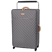 IT Luggage Tritex Quilted 4 wheel Grey Large Suitcase