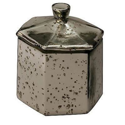 Antiqued Pentangle Silver Glass Trinket Jar