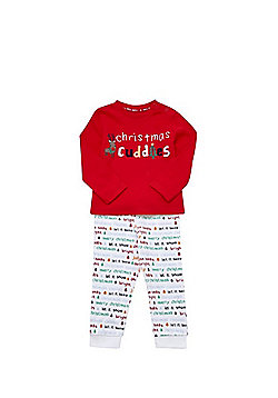 F&F Cuddles Slogan Christmas Pyjamas - Red