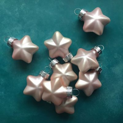 Matt Pink Glass Star Baubles - Set of Nine