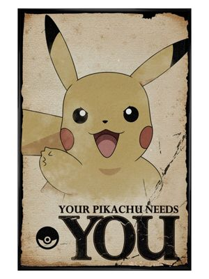 Pokemon Gloss Black Framed Pikachu Needs You PKMN Poster 61x91.5cm