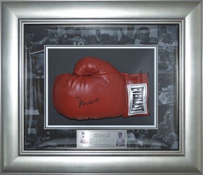 Hand Signed Muhammad Ali Dome Framed Everlast Boxing Glove - Online Authentics