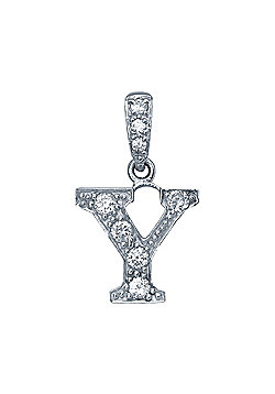 Rhodium-Coated Sterling Silver Initial Identity Pendant Letter Y