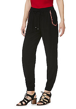 F&F Floral Embroidered Cuffed Trousers - Black