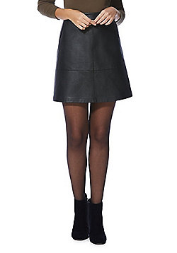 Only Faux Leather A-Line Skirt - Black