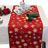 Homescapes Cotton Christmas Red Snowflake Table Runner