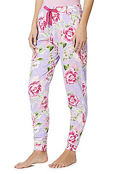 F& Floral Cuffed Lounge Pants - Purple multi