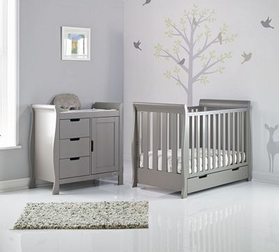 Obaby Stamford Mini Cot Bed 2 Piece Nursery Room Set - Taupe Grey