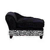 PawHut Luxury Pet Sofa Dog Bed Chaise Lounge Soft Mat Indoor Couch Zebra-stripe w/ Cushion