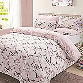 Marble Edge Duvet Cover Bedding Set, Grey - Double - Pink & White