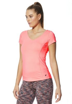 F&F Active Quick Dry Cap Sleeve T-Shirt Neon Coral L