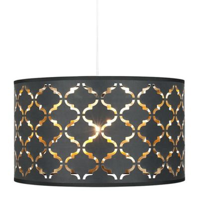Black Geometric Laser Cut Ceiling Shade & Gold Liner