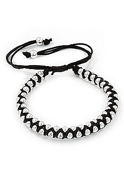 Plaited Black Silk Cord With Silver Tone Bead Friendship Bracelet - Adjustable