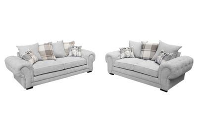 Dorado 3 Seater Sofa + 2 Seater Sofa Velour Fabric Silver