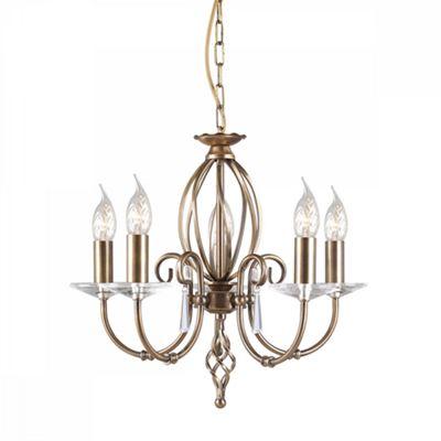 Aged Brass 5lt Chandelier - 5 x 60W E14