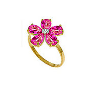 QP Jewellers Diamond & Pink Topaz Foliole Ring in 14K Gold