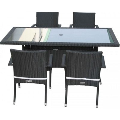 Roma 4 Chairs And Large Rectangular Table Set in Black and Vanilla