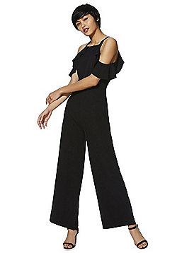 F&F Frill Trim Cold Shoulder Jumpsuit - Black