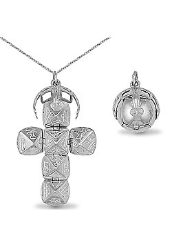 Jewelco London Sterling Silver large Masonic Ball Masonic Charm - 18 inch Chain